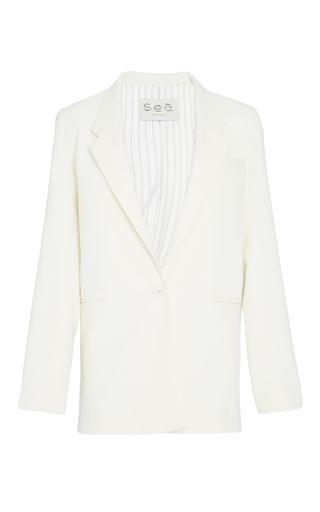 Medium sea off white cream long sundry wool blazer