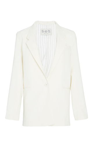 Medium sea off white cream long sundry wool blazer