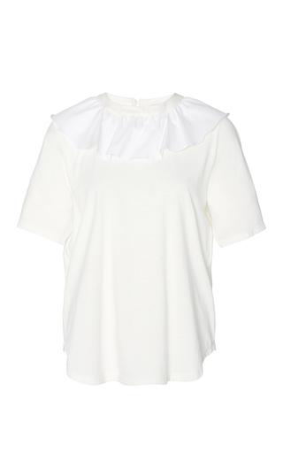 Medium sea white ruffled collar t shirt