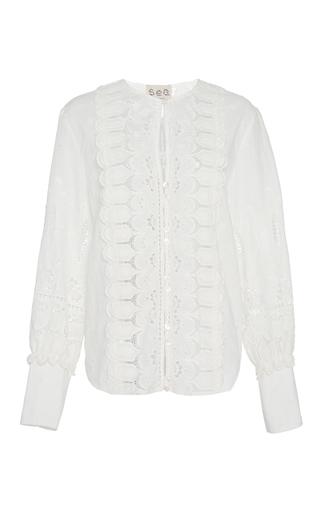 Medium sea white floral cotton eyelet blouse