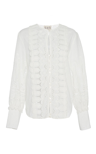 Medium sea white floral cotton eyelet blouse