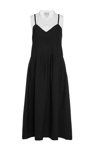 Medium sea navy pleated apron combo dress