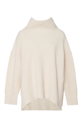 Medium sea off white ribbed cashmere turtleneck sweater