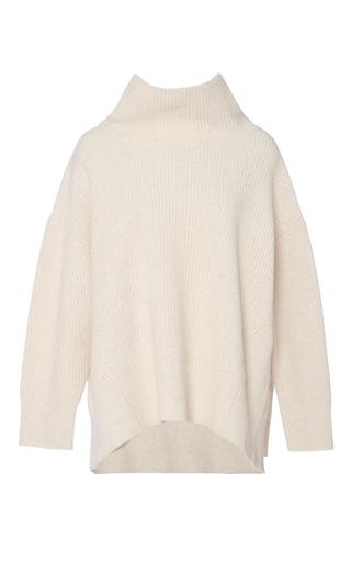 Medium sea off white ribbed cashmere turtleneck sweater
