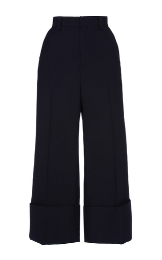 Medium sea navy navy sundry wool cuffed pants