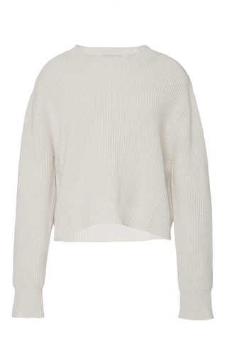 Medium sea off white cream ribbed cashmere crewneck