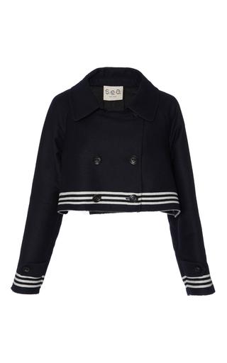 Medium sea navy striped sweatshirt combo jacket
