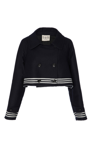 Medium sea navy striped sweatshirt combo jacket