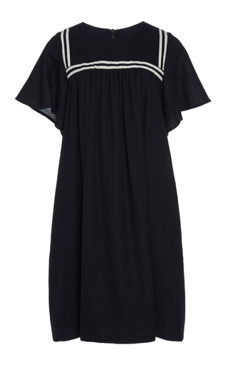 Medium sea navy striped wool felt sailor dress