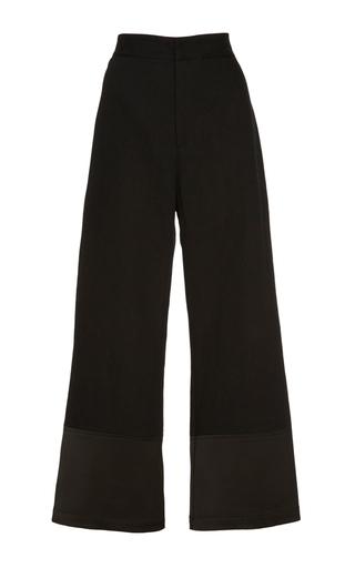 Medium sea black sateen cuffed denim pants
