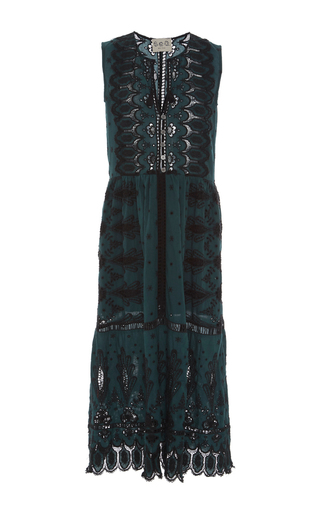 Medium sea dark green green floral eyelet midi dress