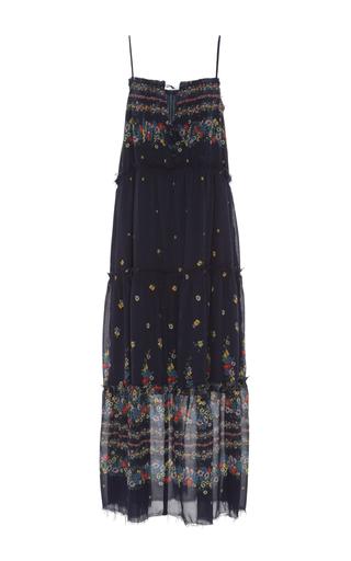 Medium sea floral floral print ruffled tank dress