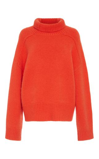 Medium wendelborn orange cashmere funnel knit sweater
