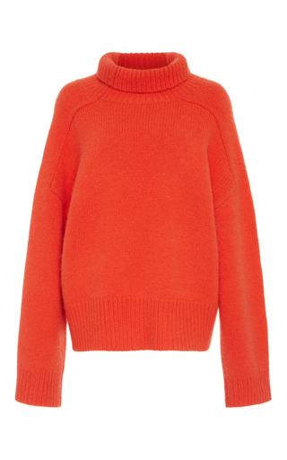 Medium wendelborn orange cashmere funnel knit sweater