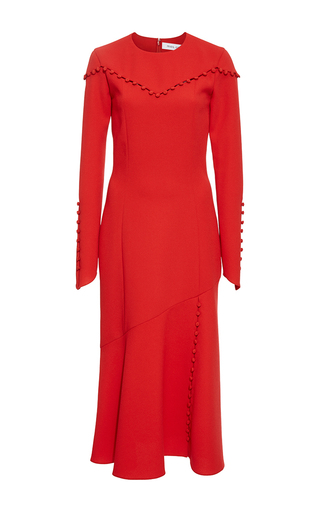 Medium prabal gurung red crewneck dress with button detail
