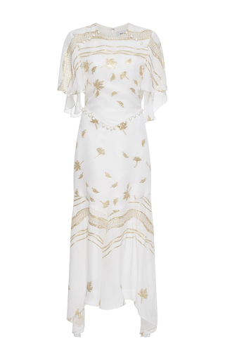 Medium prabal gurung white crewneck chiffon flounce dress