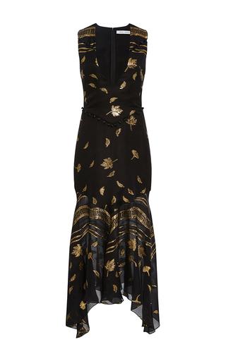 Medium prabal gurung black v neck chiffon flounce dress