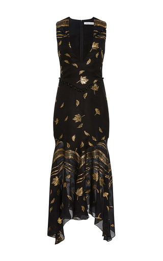 Medium prabal gurung black v neck chiffon flounce dress