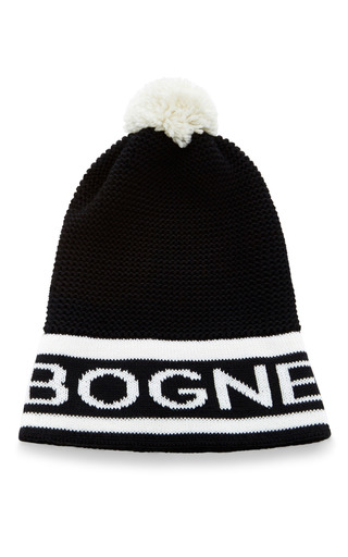 Medium bogner black white pauline beanie