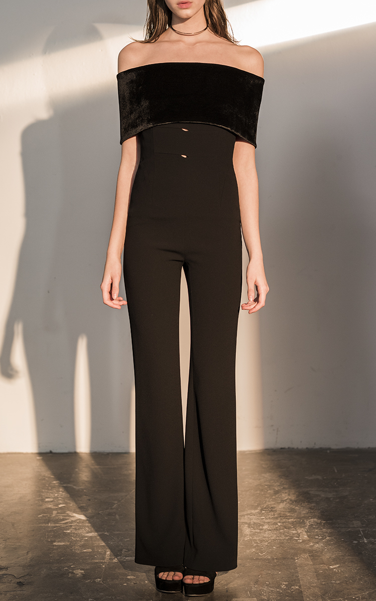 Velvet Off The Shoulder Jumpsuit By Galvan Moda Operandi
