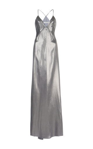 Medium galvan silver liquid silk sheath dress