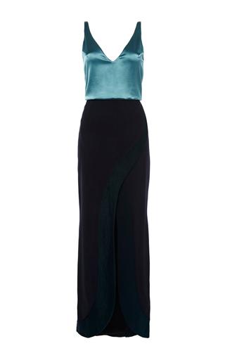Medium galvan navy contrast satin and matte crepe long dress