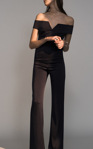 Medium galvan black satin back crepe off the shoulder jumpsuit