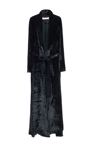 Medium galvan black soft velvet belted coat
