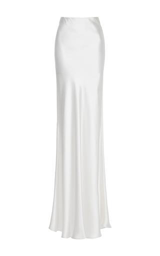 Medium galvan metallic ivory silk bias skirt