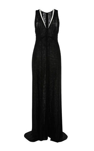 Medium galvan black pleated lace v neck dress