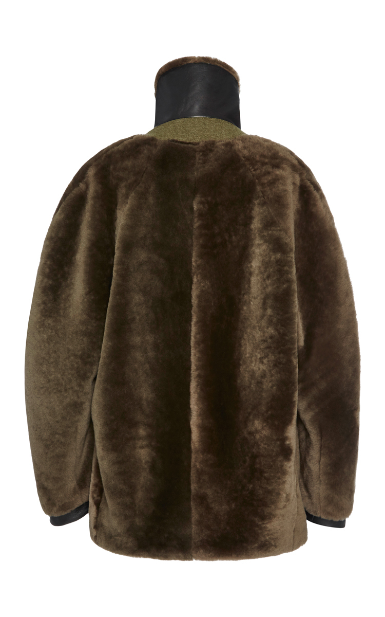 Taupe Shearling Flight Bomber Jacket By Dion Lee Moda