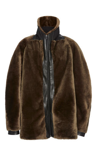Medium dion lee dark green taupe shearling flight bomber jacket