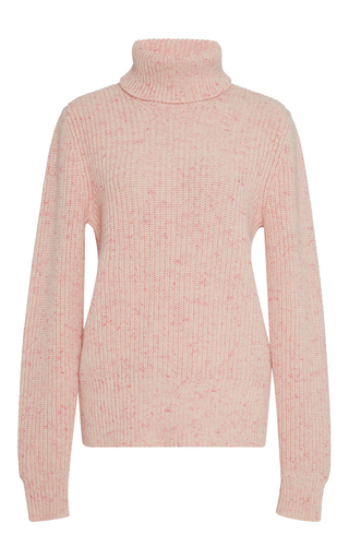Medium orley pink cotton candy ribbed cashmere turtleneck