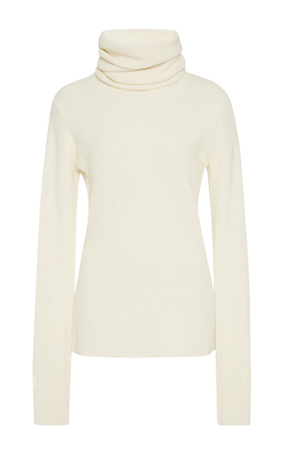 Medium 2nd day ivory wool funnel neck sweater