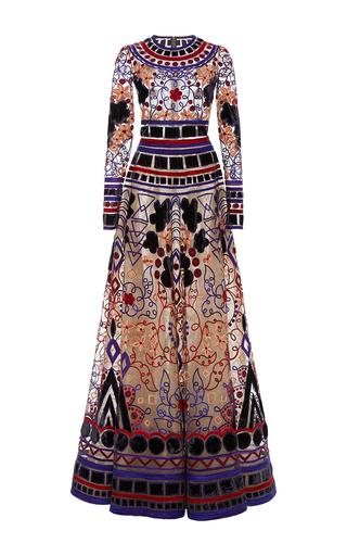 Medium naeem khan purple long sleeve applique gown in tulle