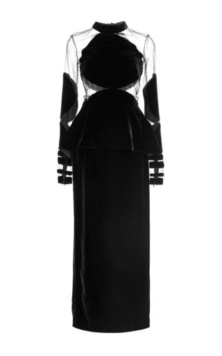 Medium naeem khan black long sleeve midi length velvet dress