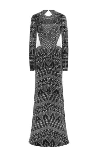 Medium naeem khan black velvet gown with open back