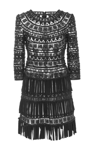 Medium naeem khan black suede fringe dress