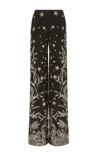 Medium naeem khan black floral embroidered pant
