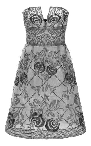 Medium naeem khan dark grey strapless cocktail dress