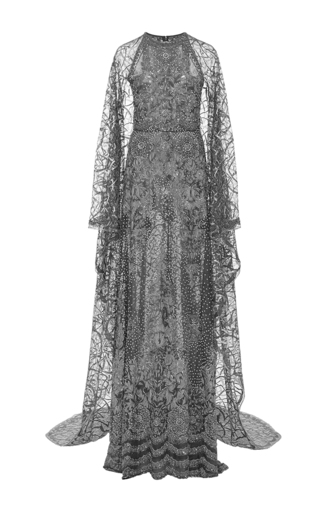 Medium naeem khan silver racer cut gown and cape