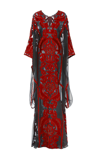 Medium naeem khan red v neck organza caftan