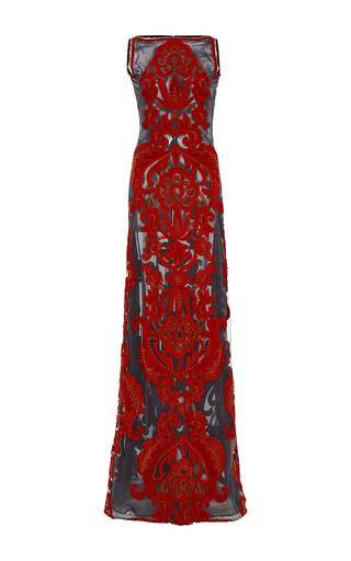 Medium naeem khan red bateau neck gown