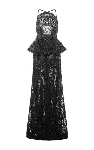 Medium naeem khan black lace gown with peplum waist