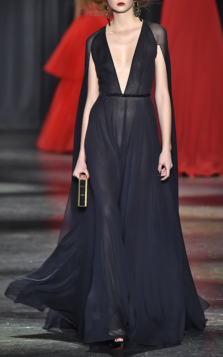 Gown with Attached Cape by Naeem Khan | Moda Operandi