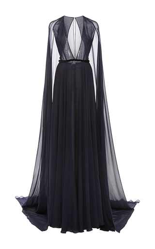 Medium naeem khan navy gown with attached cape