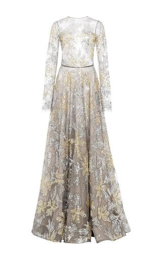 Medium naeem khan gold beaded tulle gown