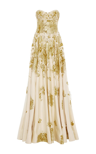 Medium naeem khan gold strapless satin ball gown