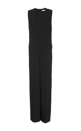 Medium protagonist black tailored gabardine jumpsuit