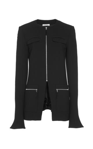 Medium protagonist black double face wool crepe collarless jacket